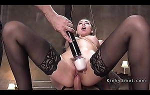 Busty usherette gets trinity with regard to dungeon