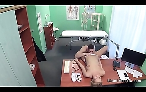 Muscular young guy bonks blonde nurse