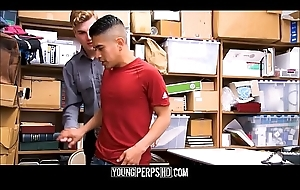 Undeceitful Latino Twink Shoplifter Tied Up &amp_ Fucked Hard by White Security Officer