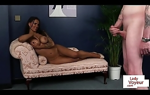 Bigtitted femdom cutie helps naked sub