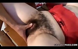 Granny With Extraordinarily Hairy Pussy Gets Fucked