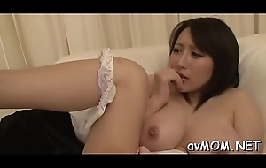 Sexy oriental mom strips and her tight pussy finger fucked
