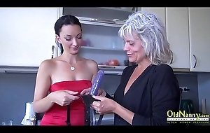 OldNannY Grey and Young Lesbian Strapon Toy Play