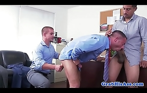 Office stud in shirt and tie acquires spitroasted