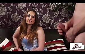 CFNM Uk beauty instructs sub to jerkoff