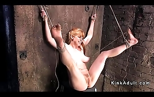 Busty scheduled helter-skelter redhead gagged plus toyed