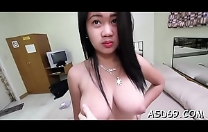 Bitchy oriental sweetheart enjoys a cock trip and gets pussy creamed
