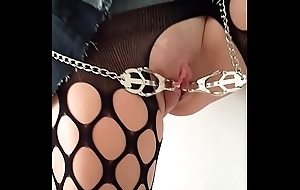Slave A (Nov 2015) - Young European female following suspended by along to door in stockings and high heels only, tied tits, pussy clamps, pussy and breasts whipped distressfully