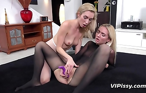 Blondes make lesbian sexual relations amend using toys with an increment of urine