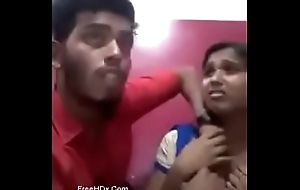 Indian girl kissing her go steady with and showing her boobs and gets sucked