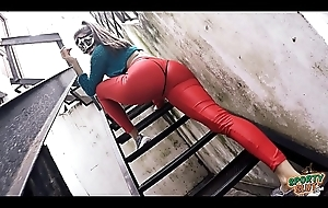 Heavy Cameltoe added to In all directions Ass Babe In Tight Red Spandex